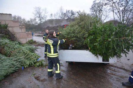 Weihnachtsbaum-Sammelaktion der Jugendfeuerwehr Viernheim am 11. Januar