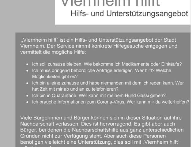 """Neuer Service der Stadt Viernheim ab Freitag – """"Viernheim hilft"""""""
