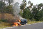 Lorsch/B47: Fahrzeug gerät in Brand